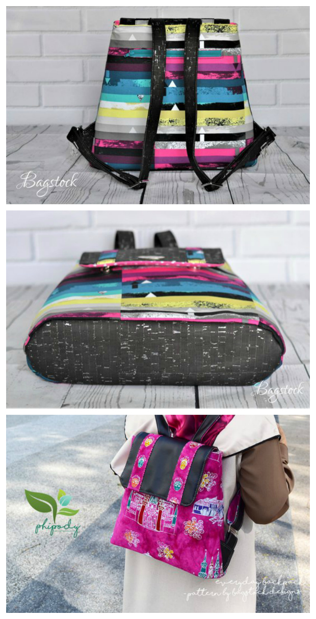 This designer makes wonderful bright looking bags that Sew Modern Bags just loves. It's a real pity she has only 7 bag patterns up for sale, but we'll be doing our best to promote each and everyone. This is a perfect backpack for everyday use. A fun, functional and quick to sew backpack to showcase your favorite materials.