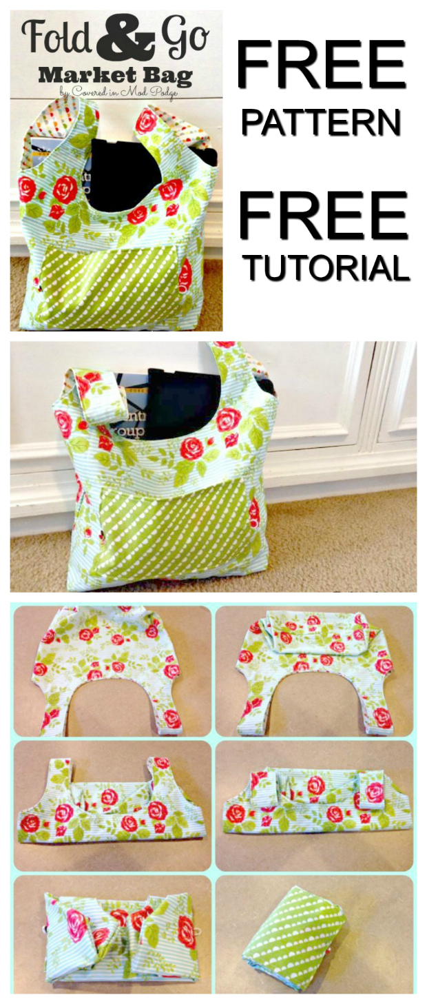 If you want to reduce the amount of plastic that you use, then why not get this FREE pattern & tutorial on how to make this Fold And Go Market Bag. Using reusable bags for grocery shopping is such a good idea. These bags can hold a great deal of weight without breaking like plastic bags can.