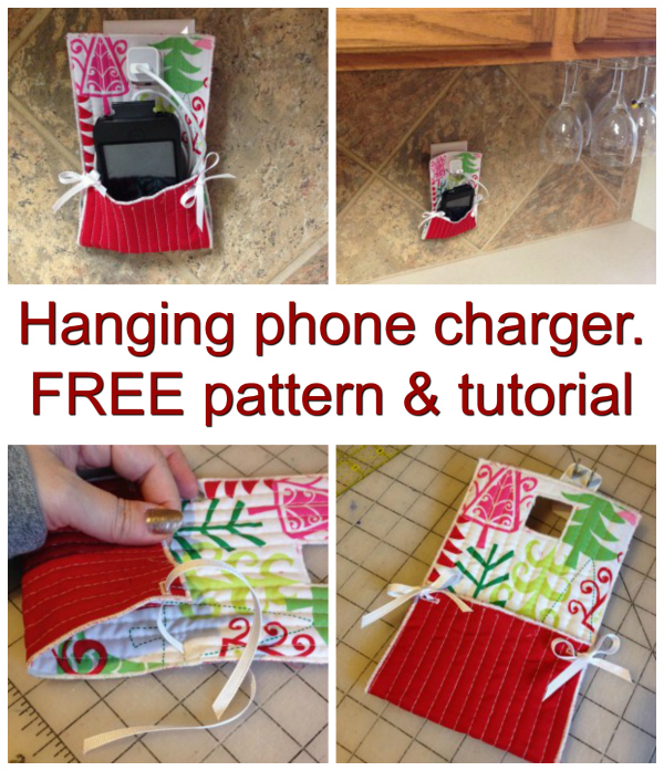 So how would you like to make a practical hanging phone charger (phone tidy) with this great FREE pattern and tutorial. This great looking project is made completely from scraps, with the phone cord contained and the phone is off the counter and out of the way.