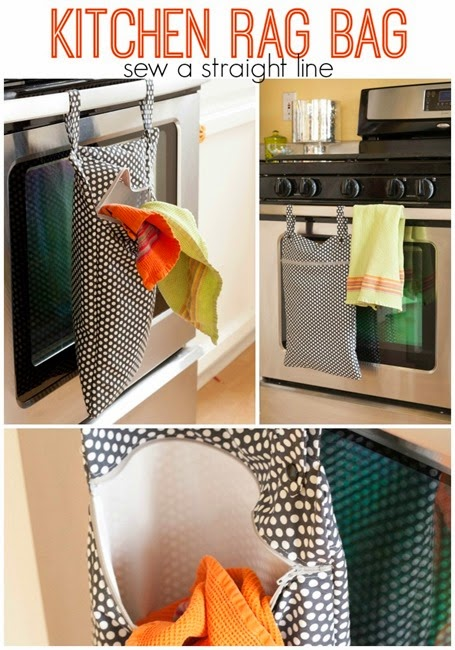 If you would like to organise all your rags in the kitchen in a bag then here we have a FREE pattern and tutorial for a Kitchen Rag Bag. It's designed to keep all your dish rags, bibs, cloth napkins and tea towels in a bag to hold them until you're ready to put them in the wash. The bag hangs from your oven door with snaps. A waterproof lining and zipper keep soiled items from spreading while helping things look tidy and reducing smells.