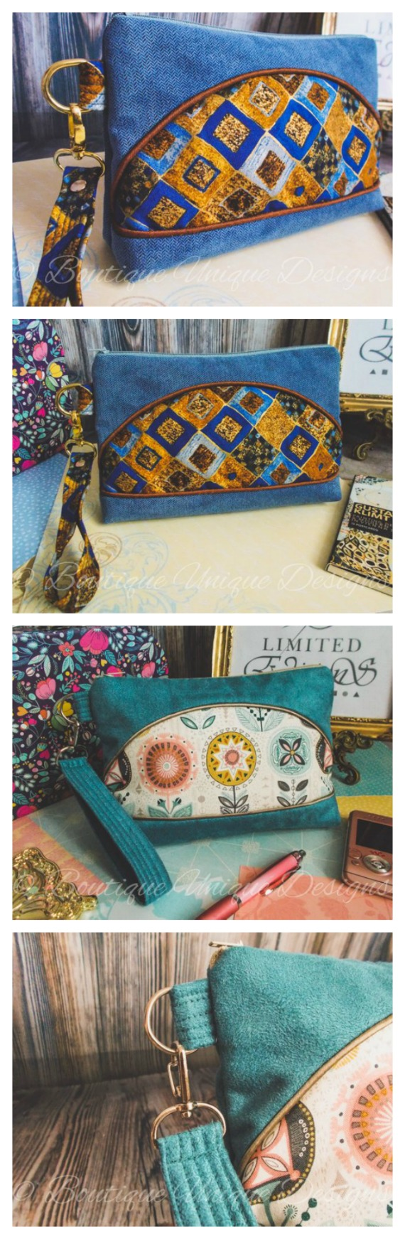 Why not download this pattern and make these awesome wristlet bags. Lucy and Amy are handy sized wristlet bags for those times when you don't want a big bag with you but still need to carry those essential items. The front feature panel of each of the wristlets are eye-catching and allow you to show off some of your favourite fabrics and colour combinations. These are an easy make and can be made with or without piping and wadding to suit your own taste.