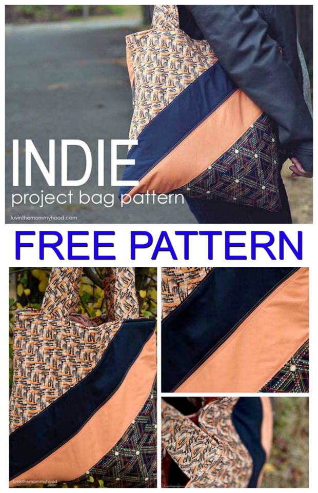 Free tote bag sewing pattern. Can be made mostly with fat quarters and fabric scraps. The whole tote bag is lined and quilted, with pockets and padded straps. #FreeBagPattern #FreeSewingPattern #ToteBagPattern