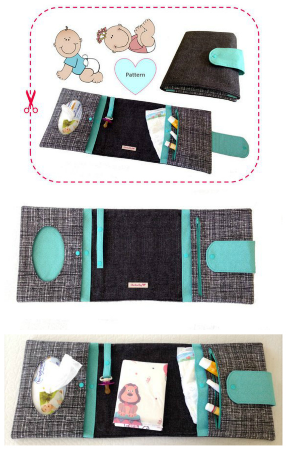 """Create your own useful and unique diaper clutch with this easy-to-follow and step-by-step """"TOKYO Diaper Clutch"""" sewing pattern.The """"TOKYO Diaper Clutch"""" stores all necessary baby items and is (when unfolded) even long enough to use it as a changing mat for your little one.It can be a beautiful gift for a baby shower or a """"newborn mom"""", too."""