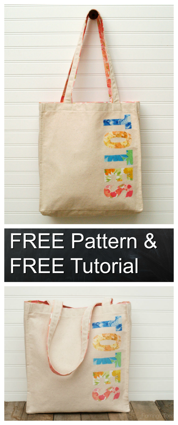 Tote bags are so useful, you can never have too many totes, can you? You can have a different tote bag for many different occasions and of course for many different outfits. This FREE pattern & tutorial takes a ready-made canvas tote and dresses it up with colorful fabrics. A lining is also added to the inside and the straps, just for a little more color.