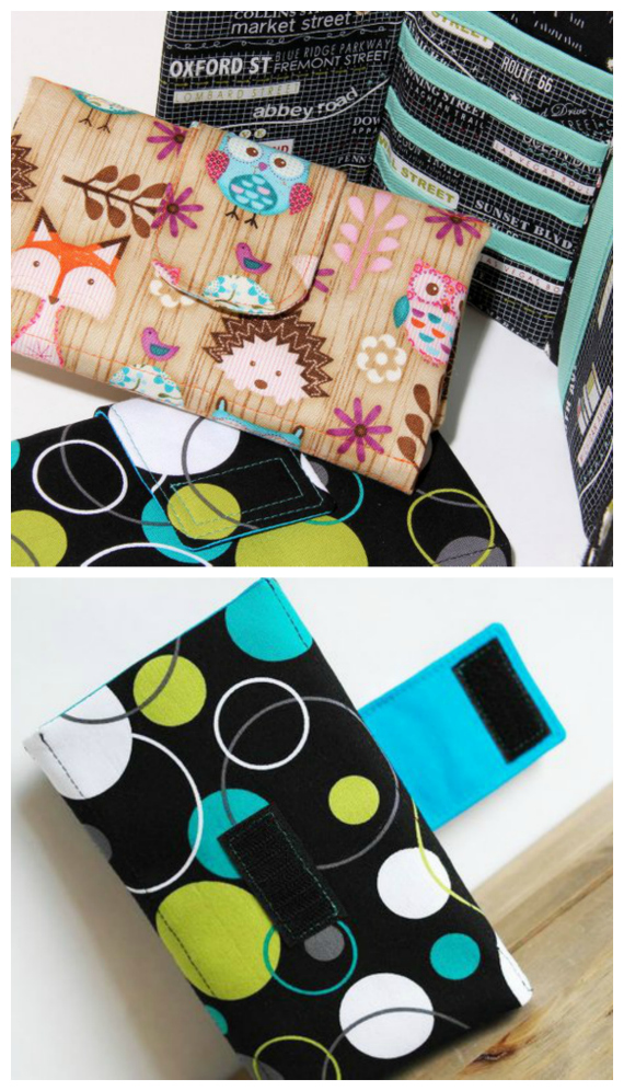 The Women's Trifold Wallet pattern is easy to make and is a great stash-buster. You can make it from a coordinating fabric bundle or raid your fabric stash to make your own unique, designer wallet. It has four credit card pockets, a cash pocket (bank-notes) and a useful notepad pocket. The instructions include two different tab closure styles to choose from, with sew-on Velcro or a magnetic snap to suit your preferences.