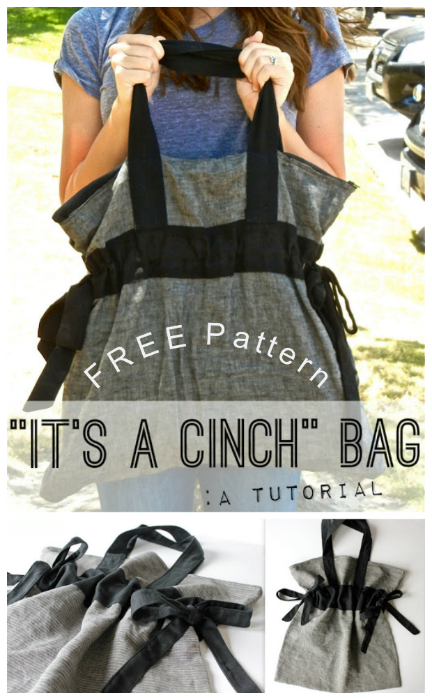 If it's a FREE pattern that you are looking for then we have a really great one for you here called The Cinch Bag. The Cinch Bag is a very adaptable Tote bag that can be used as a beach bag, a diaper bag, a school bag, an overnight bag, or for any number of extra uses.