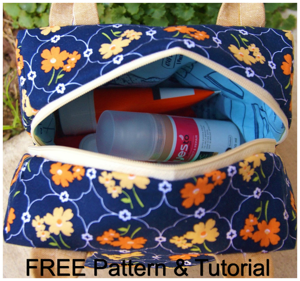 """The Ellie Travel Case comes with a FREE pattern and a FREE tutorial. This case makes a perfect cosmetics or toiletries bag and doubles as a cute little purse for a night out. The final size of this bag is 7.5"""" square, but because it's also 4.5"""" deep, it can hold a ton of stuff."""