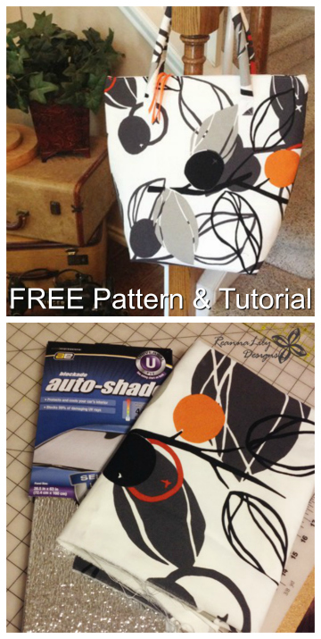 """Here's a unique FREE pattern and tutorial for an Insulated Grocery Tote Bag. Why is it unique? Because the pattern designer has used a """"reflective car shade"""" as the insulation part."""