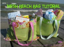 This Mesh Beach Tote Bag is such a simple and practical idea and as a bonus the pattern and tutorial are FREE.  This cool mesh material of soft plastic comes in a variety of bright colors. If you don't want to use mesh, then this bag would look equally cute substituting a canvas material.