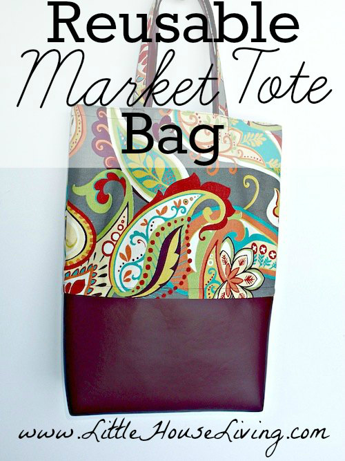 Here's a FREE Pattern, Tutorial and Video for the Easy Market Tote Bag. Are you one of those amazing people who is trying to help the environment by using a reusable shopping bag instead of a plastic bag from the store?  It's definitely the right thing to do! However, do you find that the store bought reusable bags aren't so great and tend to wear or rip too soon, especially at the bottom where they get poked by boxes and sharp edges? If so, then here is a reusable eco-conscious shopping tote bag you can sew yourself and know that it's going to be long-lasting and hard-wearing.  Oh, and it looks really good too.