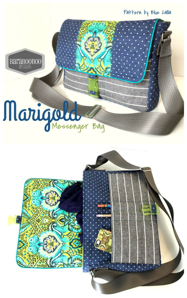 The Marigold messenger bag is a medium-sized iPad messenger bag! Marigold has tons of pockets and an adjustable strap so the bag can be worn across the body or over one shoulder. There is piping as an accent around the edge of the flap and the flap has a swivel clasp closure.