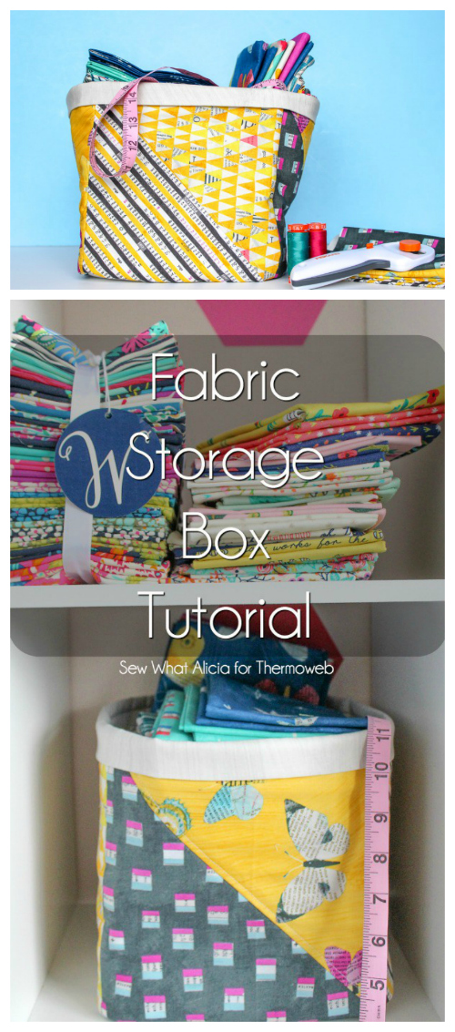 If you would like to make some cute fabric storage bins then we have a FREE pattern and tutorial for you here. These are HeatnBond Fusible Fleece fabric storage bins. You can make them to store all kinds of things around your home including bringing some organisation and color to your craft room.