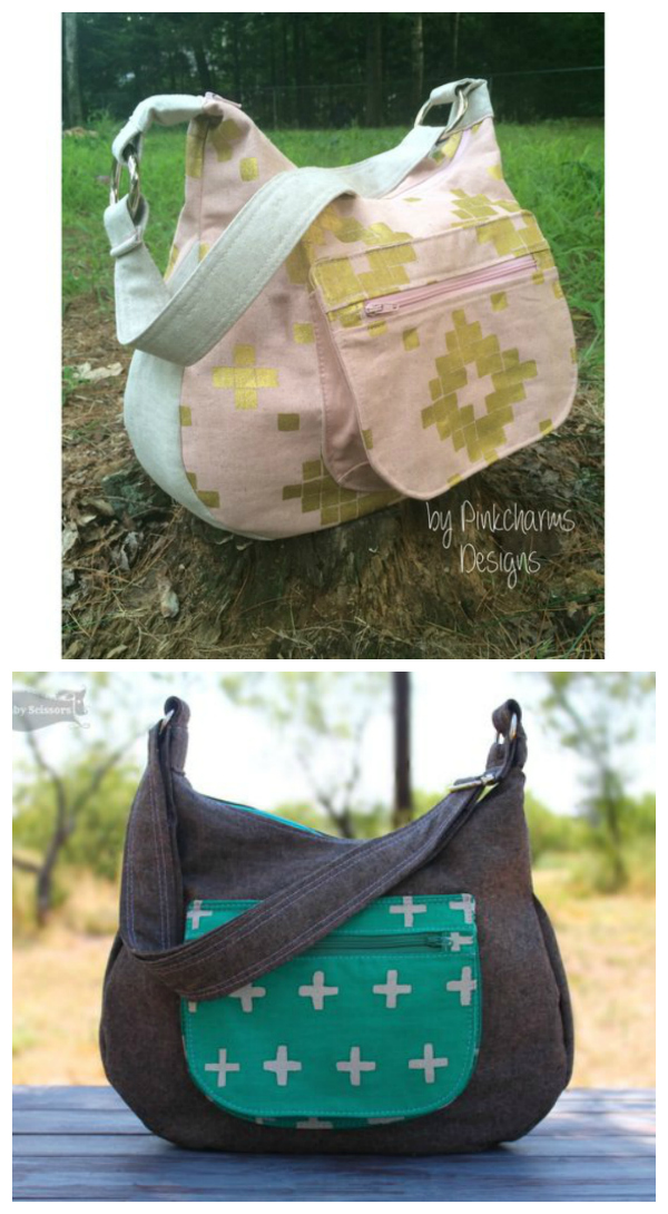 The Hydrangea is a large size hobo bag with a large front exterior pocket that has an additional zippered pocket built into the flap closure, a large gusset to give it a lot of depth and two large slip pockets have beenincluded on the inside.