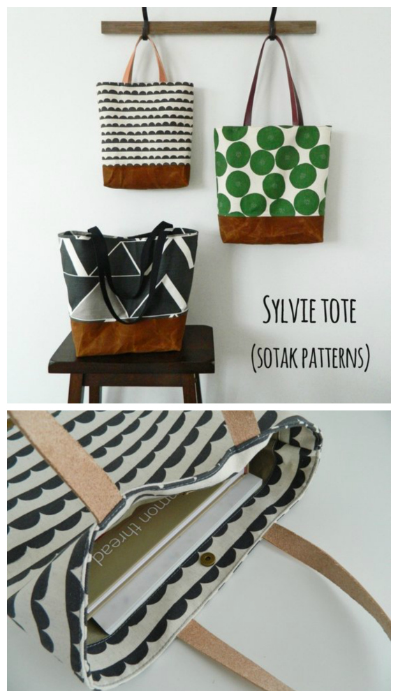 We like this bag designer here at Sew Modern Bags very much. She doesn't have too many bagpatterns for sale, but the ones she has are pure quality. Here you can create your own beautiful fully lined everyday tote bag, called Sylvie, and Sylvie comes in THREE sizes.