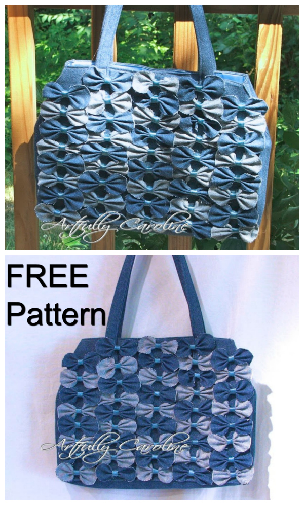 Here's a very unique looking handbag which comes with a FREE pattern. The Denim Farfalle Handbag gets itsname from the fact that the Italian word Farfalle means butterfly. This shabby chic bag really stands out from the crowd. It can be made using numerous types of fabric but this one has been made with denim.