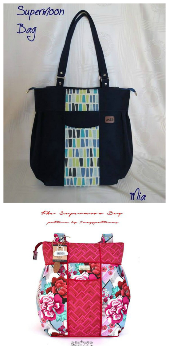 SUPERMOON is a big bag suitable for those who prefer to carry it all in one bag. The main features are pleated sides, a flat bottom, front pockets, it can be easily modified to make a diaper bag, it can be made with a flap or zippered for top closure (instructions for both options are given).