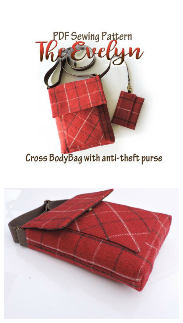 This designer makes beautifulbags. This pattern, which you can downloadbelow, is for The Evelyn Crossbody Bag. You will be shown how to easily make a beautiful crossbody bag with a detachable anti-theft purse. It has an adjustable crossbody strap and magnetic snap closure. A generous size, great for everyday use, large enough to accommodate an iPad and all your essentials.