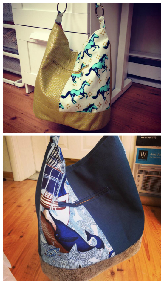 The Bonnie Bucket Bag is a slouchy hobo-style bag featuring a recessed zipper main closure and exterior double welt pocket. You can display two different fabric prints on the exterior, or give her a store-bought look by using one fabric for the exterior with contrasting topstitching. The oval-shaped bottom allows room for nearly anything.