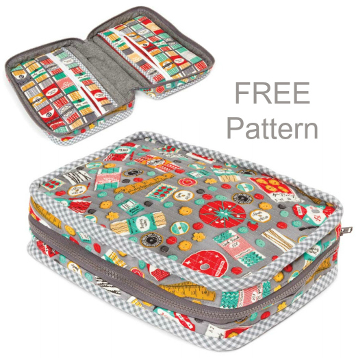 If you have ever wanted to make yourself a sewing case for holding your sewing, quilting and crafting supplies then we have a great FREE pattern for you here. This Carry Along Sewing Case is designed to carry lots of your essential items. It has a large zipper which allows you access to the main part of the case and it also comes with one internal and one external zippered pocket.