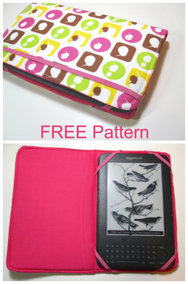 This Kindle Case has padded covers which are semi-firm, while the Kindle itself is held inside on one side with elastic and the cover is held shut with more elastic. The construction of this cover is really simple and the tutorial and pattern are 100% FREE.