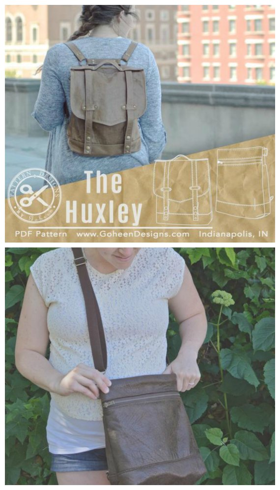 Here's a fantastic sewing pattern and tutorial for a convertible backpack named The Huxley Bag that can convert to either a crossbody bag or a bike bag.