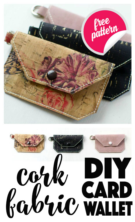 You can sew this easy card wallet using natural cork fabric. This durable textile is both beautiful and easy to sew! This free pattern is a great starter project or a great way to use up scraps.
