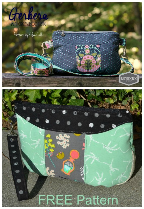 The Gerbera Wristlet is a FREE pattern and if you want the designer has provided instructions so that you can make the Gerbera into a Mini Crossbody bag. The Gerbera has the following features - A feature centre panel where you can focus a small piece of your favourite fabric - A gusset - A few pleats along the bottom - One interior zippered pocket but you could easily add more.
