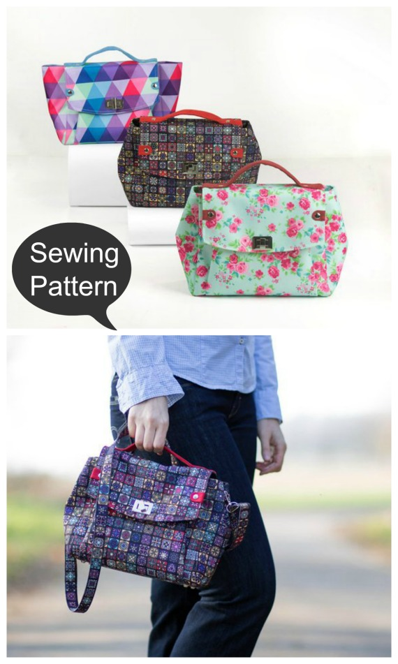 Here's the sewing pattern for the Greta Purse and shoulder bag. As you can see it's a great medium size bag with a lot of character. The bag can be carried in hand or over your shoulder.