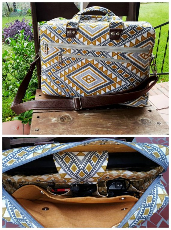 We really love this designer here at Sew Modern Bags. She makes wonderful patterns for really stylish and functional bags. The Percival Laptop Briefcase Bag is an ultra-organized bag which has enough space to fit your laptop, all your computing accessories, and everything else you need for work, school or travel, as it has pockets everywhere.