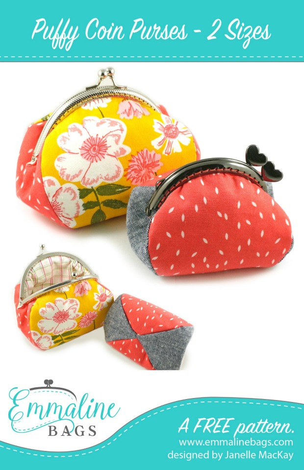 Here's a FREE pattern to make two sizes of a Puffy Coin Purse. You will need to buy the frame for whichever purse you wish to make and the designer has provided you with links to her shop for the two frames.