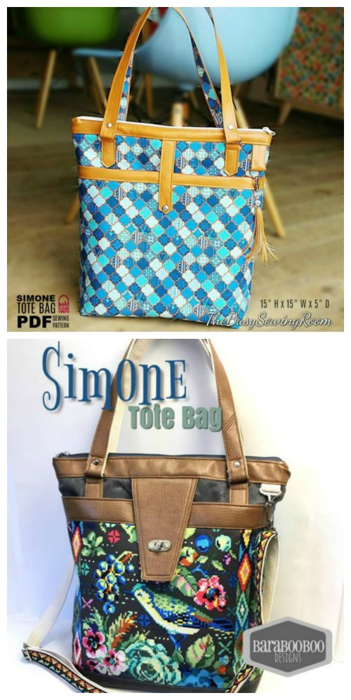 The pattern for the Simone Tote Bag will make a very versatile bag. This tote bag zips open to an organized main compartment and has a whole load of other excellent features.