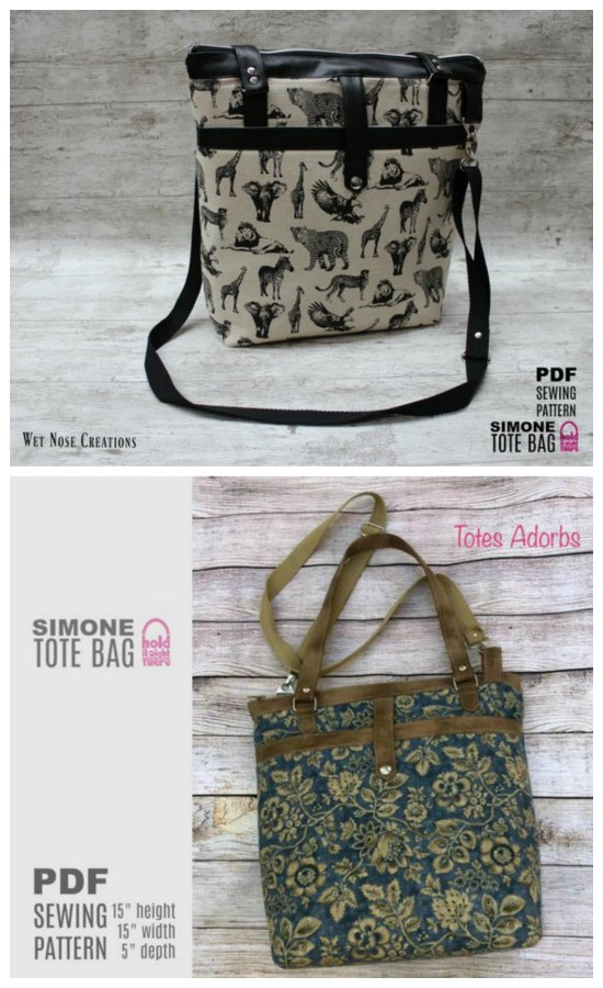 The pattern for the Simone Tote Bag will make a very versatile bag. This tote bag zips open to an organized main compartment and has a whole load of other excellent features