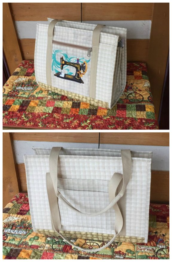 This designers Ultimate Carry All Bag sewing pattern is an Etsy BESTSELLER. This elegant bag will carry and organize all your sewing, quilting or any other craft supplies. It has an amazing 18 pockets, plus additional vinyl clear bags, attached to the swivel hook for smaller items.