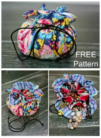 Here's a really quick and simple project for you - a Drawstring Jewelry Pouch - where the pattern is FREE. It's a stash buster of a project where you will need to use four of your favorite fat quarters. This beginner project is ideal for you to make gifts for your girlfriends or loved ones.
