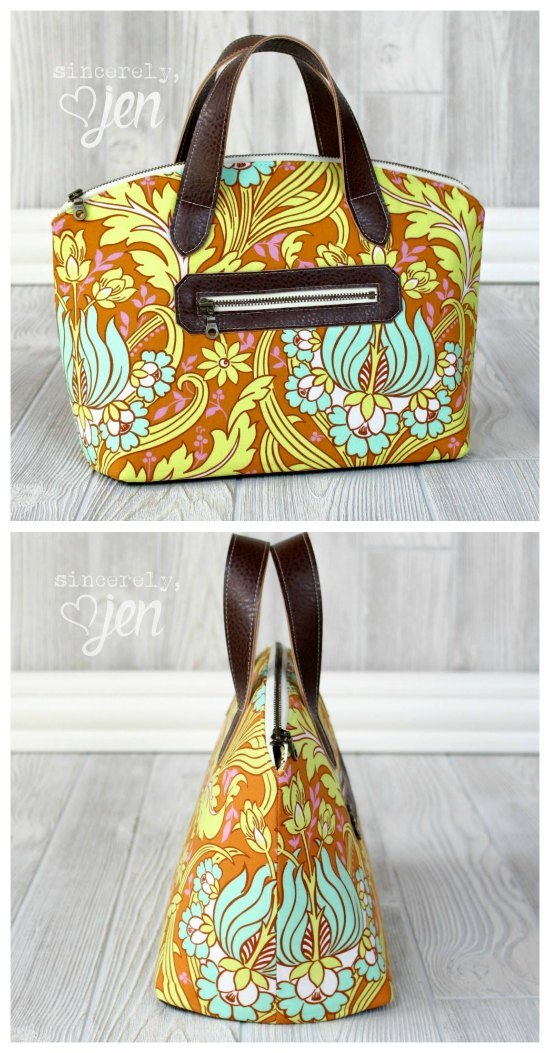 We absolutely adore this designer at Sew Modern Bags. Here she has created the Lola Domed Handbag, which is a paid pattern, but it does come with a FREE step-by-step video. This small bag is the perfect look for your everyday style and Lola comes with a trimmed zippered pocket, zippered main compartment and an interior slip pocket.