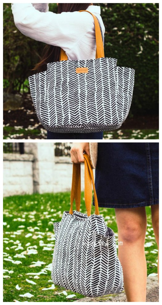 Here's a great pattern for a bag named the Noel Handbag. The designer who has made it has included four sizes for the price of one - S, M, L, and XL. The Noel Bag is a simple yet unique bag with two pockets on the gusset of the bag. The bag's convenient pockets can easily store water bottles, beach towels, and more. It's a wonderful bag for travelling and trips to the beach.