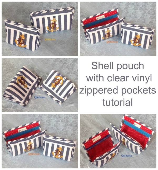 This tutorial has detailed instructions on how to make this Shell Pouch With Clear Vinyl Zippered Pockets. The pouch has two invisible sew-in magnetic closures and comes in two sizes - small or medium. The inside pockets are clear so you don't need to unzip them to see what's in each of them.