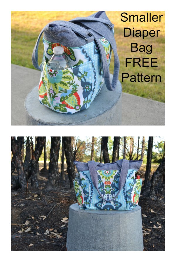 Here's a FREE sewing pattern for a smaller diaper bag, with following features - It still has plenty of pockets - It has a wide base so it stands up easily in the car - It's smaller but can still fit a handful of diapers, toys, snacks, and drinks for a day in the park - It has an easy to zip and easy to sew sport separating zipper - It has handles that are long enough to throw over your shoulder one handed.