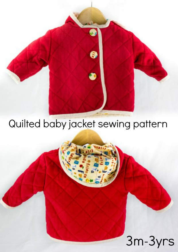 Sewing pattern for a quilted jacket or coat for babies