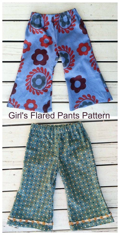 Here's a really great pattern for confident beginners with some sewing experience. These Girl's Flared Pants are very easy and quick to make, there are just two pattern pieces. They are also easy to wear with no zip or fly, just pull them up. These retro style flared girls pants come with the option to embellish the trouser legs with ribbons or lace. They are a year-round wardrobe essential.