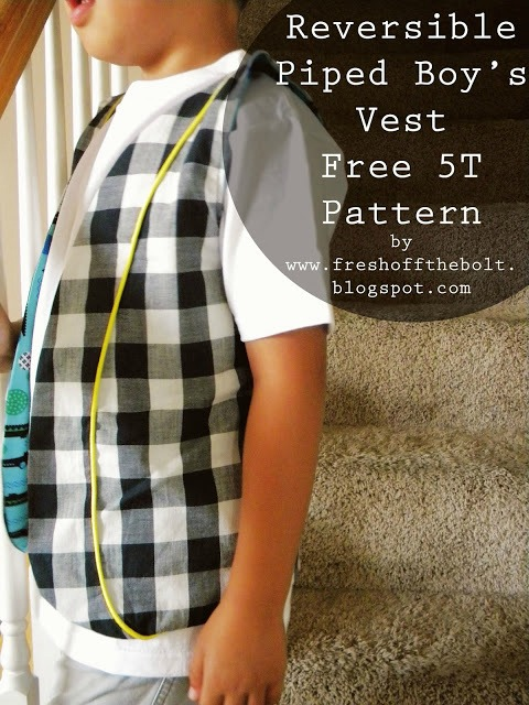 Use this FREE pattern and make a great Reversible Piped Boy's Vest. It's both very fun and very easy. There are no buttons, no zippers, no pockets for you to worry about. It's a great beginner sewing project that can produce some amazing results depending on the fabrics that you choose.