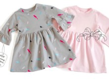 Here's a really pretty baby dress made from real cute knit fabric. This sewing pattern makes a baby dress with a choice of frill or classic sleeves. The dress has shoulder snaps and the pattern includes sizes from 1 to 24 months.
