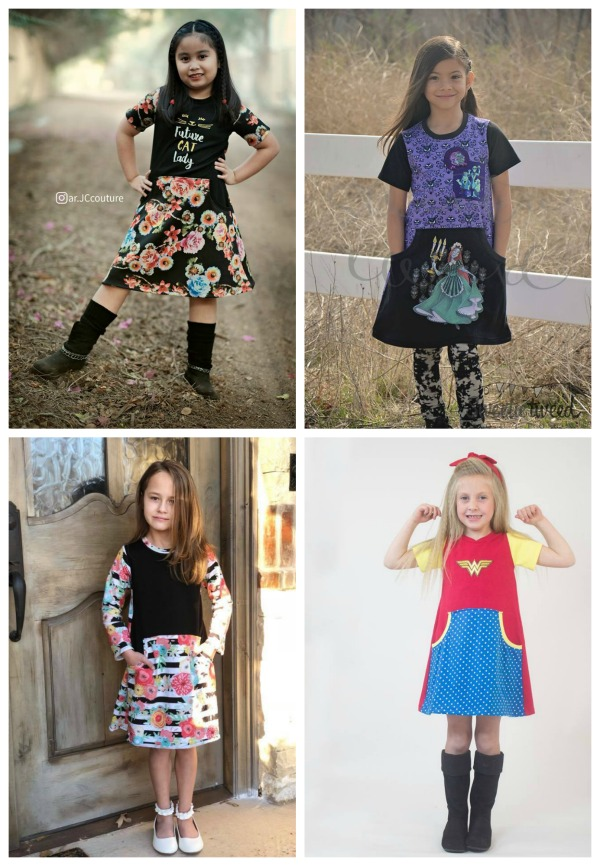 The Girl's Be Independent Dress, Skirt and Shorties digital sewing pattern is a really unique pattern that can be made in so many different ways. These dresses look absolutely fabulous, which makes this digital pattern a must have! The designer used 50% four-way stretch knits when making this project and they have made the pattern available in many sizes from 12 months to big girl 14.