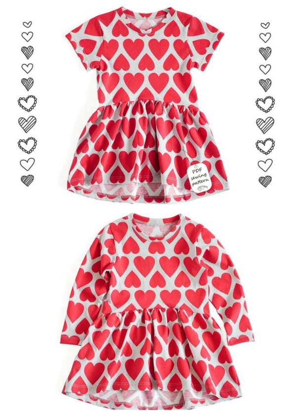 Here's that wonderful designer again who brings you great digital patterns at amazing prices. This is a Jersey knit fabric dress with a shorter front and a longer back. You can choose between long and short sleeve and the dress pattern includes sizes from 2 to 10 years.