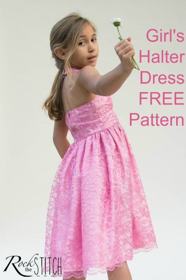 """This is a super pretty girls halter neck dress where the very talented designer has provided the pattern and tutorial FREE. This dress has a gentle gathering on the front bodice, a rounded """"V"""" neckline, and gathered skirt. The halter strap closes with snaps and the back closes with a zipper."""