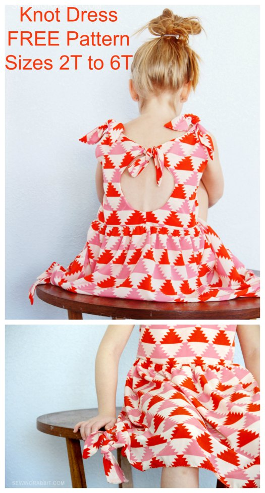 Well isn't this dress a real beauty and after three years of selling the pattern, the designer decided to offer it for FREE. The Knot Dress was one of the very first sewing patterns that she designed. It has no zipper or button closures, but has ties at the shoulders, back, and skirt, which makes it a super easy pattern to sew and a perfect project for a beginner sewer.