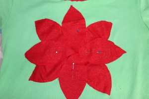 Christmas Poinsettia Shirt Pinned Layer