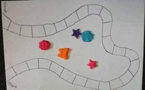 The board game design traced in sharpie