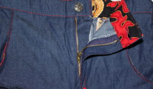Dax Trousers by Gracious Threads with fly open.