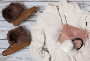 Women's fur clothes, fur bag